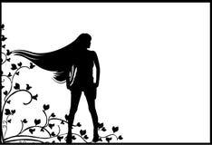 Girl silhouettes. Vector illustrations flower and Girl silhouettes stock illustration