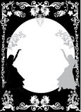 Girl silhouettes and floral frame Stock Image
