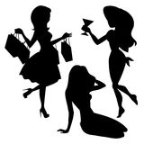 Girl silhouettes set Stock Photography