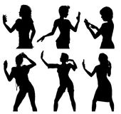 Girl silhouettes taking selfie with smart phone Royalty Free Stock Image