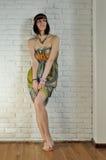 Girl in a silk dress Stock Photos