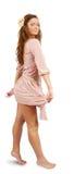 Girl in silk dress on white Stock Image
