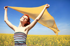 Girl with silk at outdoor. Stock Image