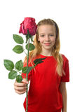Girl with silk red rose Stock Photos