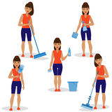 Girl with Simple Tools for Cleaning Royalty Free Stock Photos