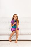 Girl sing at home Stock Photography