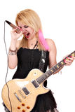 Girl sing. And play electric guitar Stock Image