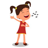 The Girl Sing a Song. A vector illustration of a kids are funny and happy. Vector illustration, zip archive contain eps 10 and high resolution jpeg Stock Photos