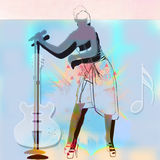 Girl singer. Girl's figure with microphone and guitar Royalty Free Stock Photo