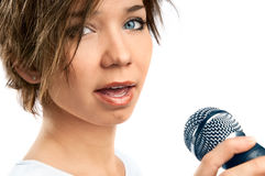 Girl Singing. Royalty Free Stock Image