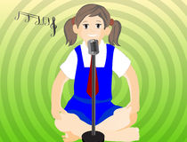Girl Singing. Illustration of a young girl singing with mike Stock Photos