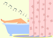 Girl singing in the bathroom Royalty Free Stock Images