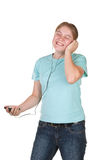 Girl singing dancing with mp3 Royalty Free Stock Image