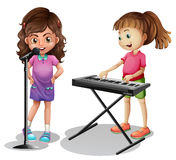 Girl singing and girl playing electronic piano. Illustration royalty free illustration