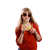 Girl singing Royalty Free Stock Photography