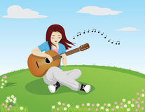 Girl singing while playing guitar. Illustration of a girl singing while playing guitar on an open field Stock Images