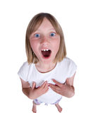 Girl singing or shouting Stock Images