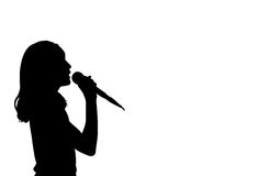 Girl singing silhouette Stock Photos