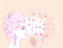 Girl singing a song on a floral background Stock Photos