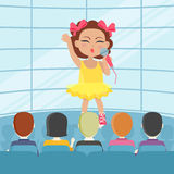 Girl Singing Song in Front of Audience. Vector. Girl singing song in front of audience. Adorable little girl has leisure time. Young singer at music concert royalty free illustration
