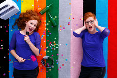 Girl singing to the microphone Royalty Free Stock Image