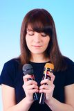 Girl sings stock images