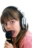 The girl sings Royalty Free Stock Photo