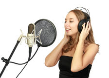 A girl sings Stock Image