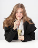 Girl sipping champaign w straw Stock Photo