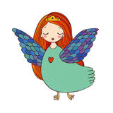 Girl Sirin. Mythological bird. Russian folklore. Stock Images