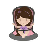 Girl sit in Baby rides module with layette form Stock Photography