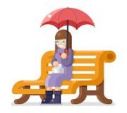 Girl sit bench umbrella autumn flat design isolated template vector illustration Stock Photos