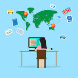 Girl sit in front of computer planning for travel Stock Image