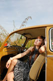 Girl sit inside car Royalty Free Stock Image