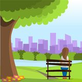 Girl sit on the park Royalty Free Stock Image