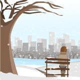 Girl sit on the park winter Stock Photos