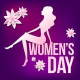 Card 8 March with silhouette of a girl and papercut flowers. Girl sit on the text women day on the violet background with pink and white papercut flowers Royalty Free Stock Photos