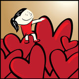 Girl sit on your heart. Royalty Free Stock Photography