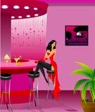 Girl sits at a bar Royalty Free Stock Photo