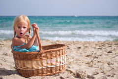 Girl sits in a basket Royalty Free Stock Photo