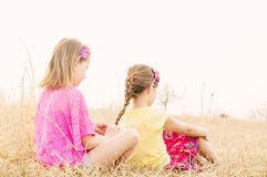 Girl sits behind sister meadow fixing hair Royalty Free Stock Photo