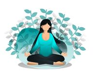 Girl Sits In Lotus Position. Benefits of Meditation and Yoga for Peace of Mind and Emotion, Beginning of Idea and Inspiration. Vec. Tor Illustration For Web Page vector illustration
