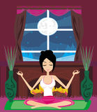 Girl sits and meditates Stock Photography