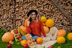 The girl sits next near for pumpkins. Thanksgiving, Halloween royalty free stock photography