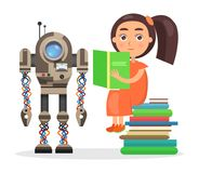 Girl Sits on Pile of Books and Reads Beside Robot Royalty Free Stock Image