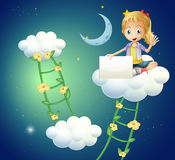 A girl sitting above a cloud holding an empty signage Royalty Free Stock Images