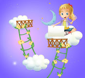 A girl sitting above a cloud holding an empty signboard vector illustration