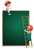 A girl sitting above the empty board and a girl climbing the lad Royalty Free Stock Image