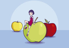 Girl sitting on an apple Royalty Free Stock Image