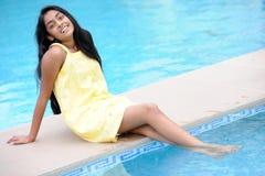 Girl Sitting At Pool Royalty Free Stock Photo